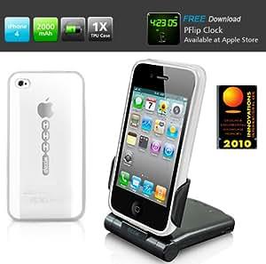 Dexim - (DPA065) Pack 3 en 1 Batterie / Dock P-Flip (2000mAh) Synchro & Charge + Housse rigide TPU pour iPhone 4 / 4S