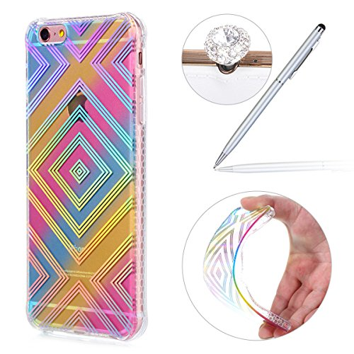 Felfy Coque Pour iPhone 6 Plus,iPhone 6S Plus Coque en Silicone Transparent,iPhone 6S Plus Etui Ultra Mince Slim Silicone Cristal Clair Etui Smile Motif Housse Soft Case Gel Protective Cover Flexible  Motif de Ligne