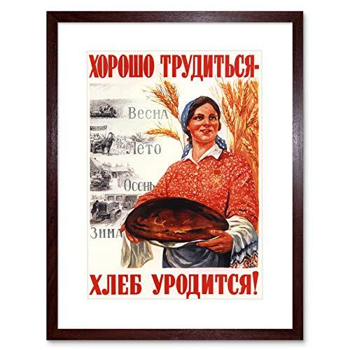 PROPAGANDA RUSSIA SOVIET RURAL FARM FOOD BREAD FRAMED ART PRINT MOUNT B12X10083
