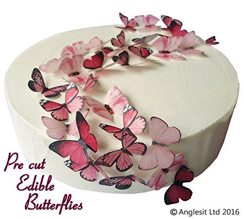 48 x Vorgeschnittene schöne rosa Schmetterlinge essbares Reispapier/Oblatenpapier Kuchendekoration, Dekoration für Cupcake Kuchen Dessert, für Geburtstag Party Hochzeit Babyparty (S) (Toppers Essbare Hochzeit Cupcake)