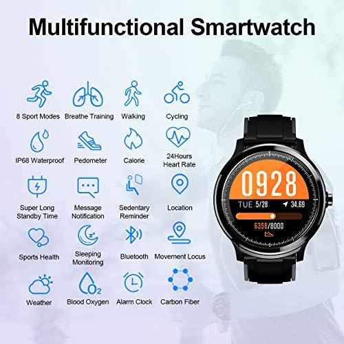 Imagen de bluetooth smartwatch hombre mujer reloj inteligente impermeable ip68 pulsera actividad monitor de sueño calorías podómetro pulsómetro notificación de llamada y mensaje para android y ios gris oscuro  alternativa