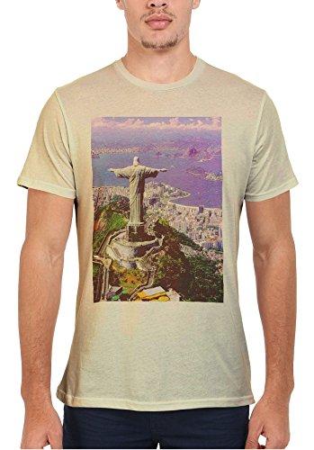 Brazil Jesus Christ Statue Cristo Redentor Rio de Janeiro Men Women Damen Herren Unisex Top T Shirt Sand(Cream)