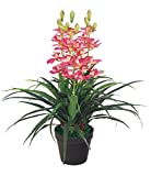 Decovego Künstliche Orchidee Kunstpflanze Pflanze Rosa mit Topf 100cm