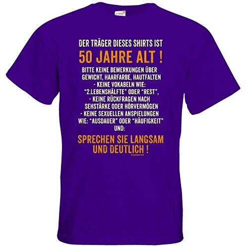getshirts - RAHMENLOS® Geschenke - T-Shirt - Traeger dieses Shirts ist 50 jahre alt - sprechen sie langsam Purple