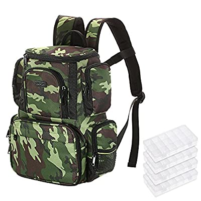 Lixada Fishing Tackle Bag Fishing Bag Backpack Fishing Lures Bait Box Storage Bag with 4 Fishing Tackle Boxes from Lixada