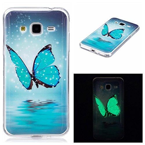 OnlyCase Funda para Samsung Galaxy J3 / J3 2016, Elegante Luminous Effect TPU Suave Silicón Gel de Alta Resistencia y Flexibilidad Anti-arañazos y, Mariposa