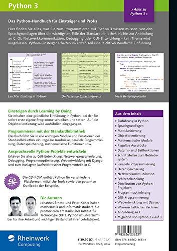 Livres Couvertures de Python 3: Das umfassende Handbuch: Sprachgrundlagen, Objektorientierung, Modularisierung