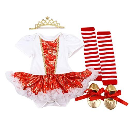 ➤Refill➤ Kleider für Baby-Mädchen,9 Stück Outfits Strampler Rock + Leggings + Stirnband + Schuhe Weihnachtskostüm Party Kleid Tutu Kleidung