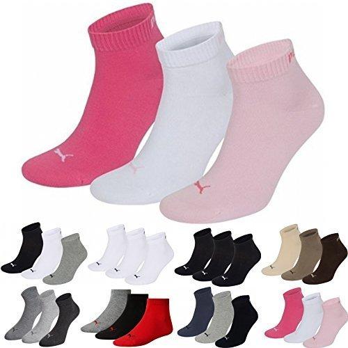 Puma Sport Socken (versch. Farben) Unisex Fashion Quarter (3Paar) M Rosa (Pink Lady Mix) -