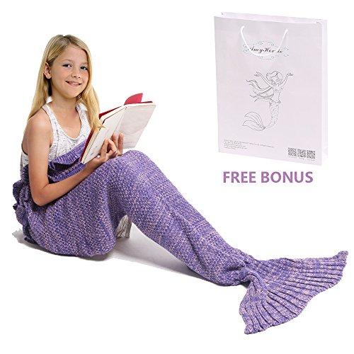 Meerjungfrau Decke, Amyhomie Handgemachte häkeln meerjungfrau flosse decke für Kinder, Mermaid Blanket alle Jahreszeiten - Die Meerjungfrau Kleine Halloween-kostüme Ariel