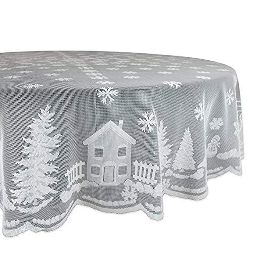 ---Weihnachten Tischdecke | Weiße Spitze Lace Schneeflocken Elch Tischtuch | Urlaub Party Dinner Table Cover Home Tisch Deko Weihnachtsdeko | Vorhang Tischlampe Tuch (178cm Durchmesser rund)