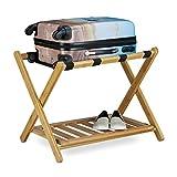 Relaxdays Kofferständer aus Bambus HBT: 53 x 68 x 53 cm klappbare Gepäckablage für Koffer und Reisetaschen als Kofferbock oder Gepäckständer aus Holz auch als Tablettständer und Kofferhocker, natur