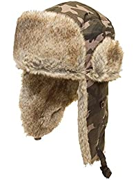 UNISEX CAMO TRAPPER HAT WITH FAUX FUR TRIM