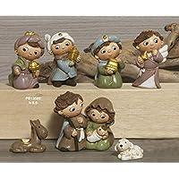 Idea Natale: Presepe natività gruppo statue di bambini in resina decorata; 8 soggetti h 6.5