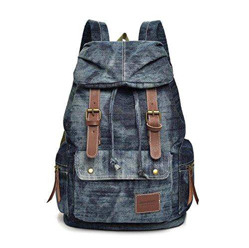 Defeng Unisex Canvas Schultertasche Denim Rucksack Modische Rucksäcke Schultasche Daypacks für Männer und Frauen (Blau-B076) -