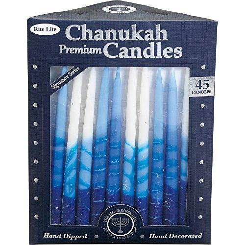 remium Chanukka-Kerzen. Handarbeit, dreifarbige blau/weiß Streifen. Box von 45 ()