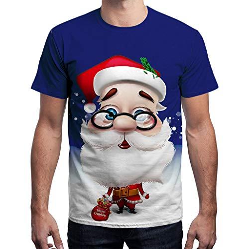 Auifor Unisex Männer Frauen Weihnachten Weihnachten Santa Print Kurzarm Bluse T-Shirt Top