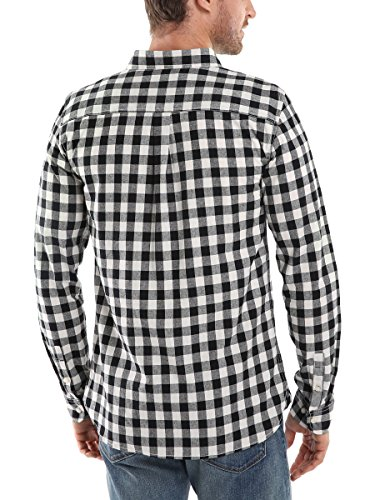 ... Mocotono Hemd Herren Kariertes Hemd Langarm Baumwolle Casual Hemd mit Super  Qualität Schwarz-Weiß Kariertes 50d180adff