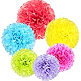Coceca 18pcs pompón de papel de seda (14 pulgadas, 12 pulgadas, 10 pulgadas flor bola para al aire libre de fiesta boda Baby Shower decoración