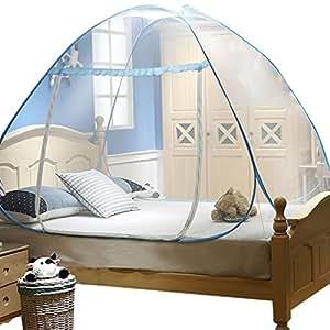 youjia moustiquaire de lit lacet moustiquaire amovible de voyager yourte tente de lit bleu 1 2. Black Bedroom Furniture Sets. Home Design Ideas