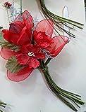 Set 6 pezzi, Bomboniera bouquet bocciolo con erbetta x segnaposto, sacchettini e confetti (ck2003)