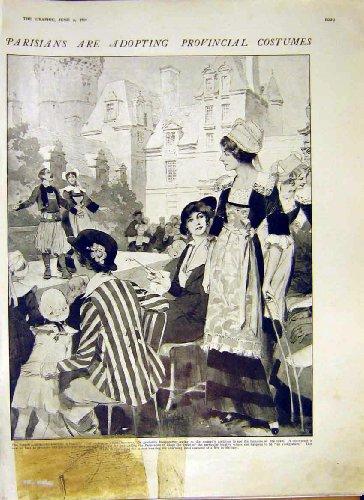 Pariser Provinzielle Kostüm-Französische Frauen-Alter Druck 1914
