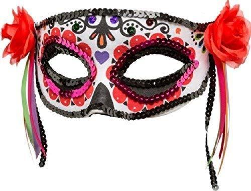 Donna giorno dei morti scheletro teschio di zucchero messicano mezzo volto masquerade halloween costume vestito accessorio maschera