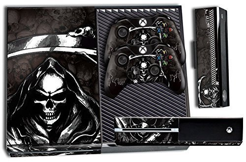 Designer Skin Sticker for the Xbox One Console With Two Wireless Controller Decals- Reaper Black 51cdIX7Rt1L