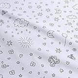 Stoff Kinderstoff Baumwolle Popeline weiß Sonne