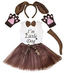 Petitebelle Dog Headband Glove Bow Tail Shirt Gauze Skirt Girl 6pc Costume 1-8y by Petitebelle
