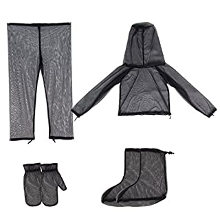 Broadroot 4 in 1 Anti-mosquito Clothes Lightweight Suit Jacket+ Trousers+ Gloves+ Shoes Covers for Men Women Summer Hiking, Camping, Fishing, Beekeeping