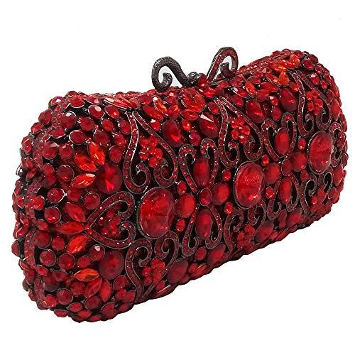 KUVV Bequem Frauen Metall Hohl Diamant Diamant Bankett Clutch Bag Beidseitig Voller Diamanten Hochzeit Braut Abend Geschenk Kette Umhängetasche Handtasche (Farbe : Red)