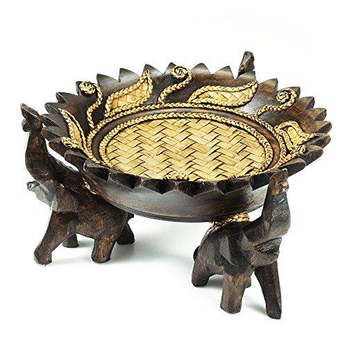 AeraVida Freude Elefant Tablett geschmückt mit Royal Blätter Regen Baum Holz geschnitzt Schüssel Zirkular-Fair Trade Handarbeit von Thai gestaltet - Verzauberung Holz