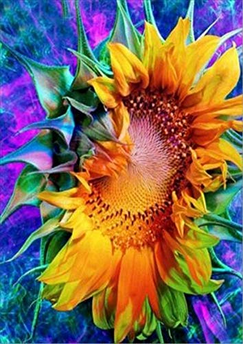 Magic Sunflower Flower 5D Diamond Painting Kit by Numbers Full Drill Cross Stitch Embroidery DIY Art Craft Embroidery Rhinestone 30X40cm