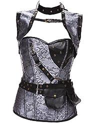 Corset de alta calidad chales vintage set acero steampunk estilo corsés vientre chaleco corsé , gray , xl