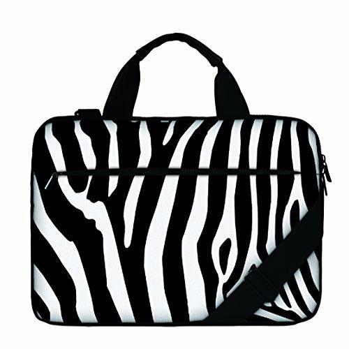 Luxburg Designer Schultertasche mit Griff für 17Notebook/Laptop-Zebra Streifen -