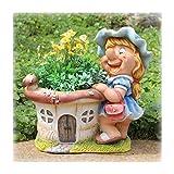 Design XL Zwerg 91026 mit Blumentopf 30 cm Hoch Deko Garten Gartenzwerg Figuren Mädchen