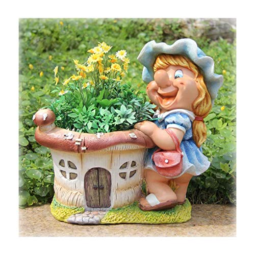 Bienvenue Welcome Nain de jardin Design pot de fleur 18 cm de Hauteur-Décoration de Jardin-Nain de jardin avec 2 personnages, 4 modèles différents