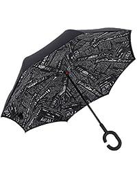 iTrunk Parapluie Pliant à Double Couche Avec Poignée Mains Libres en Forme de C - Protection UV, à épreuve du Vent, Imperméable à l'extérieur et Utiliser pour Voiture Noir Journal