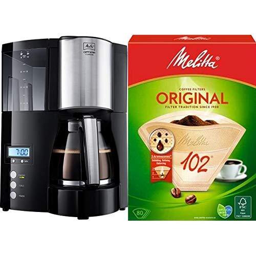 Melitta Optima Timer 100801 bk, Filterkaffeemaschine mit Glaskanne und Timer-Funktion, Abnehmbarer Wassertank, Schwarz & Filtertüten Naturbraun 102 / 80