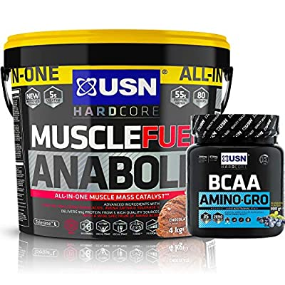 USN Muscle Fuel Anabolic Muslce Gain Shake 4KG + USN Amino GRO 300g (35 Servings) by USN.
