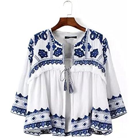 Donne top girocollo Cardigan manica ritagliata blu e bianco ricamato giacca con frange . picture color . s
