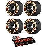 66mm Powell Peralta Snakes Longboard Skateboard Wheels with Bones Bearings - 8mm Bones REDS Precision Skate Rated Skateboard Bearings - Bundle of 2 items