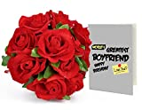 TiedRibbons Birthday gift for Boyfriend 24 Faux Red Roses Bunch Bouquet with Greeting Card