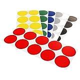 Klebepunkte farbig | 15 oder 30 mm Durchmesser | PE-beschichtete Markierungspunkte aus Gewebe | Farbe & Menge wählbar | Bunte Klebepunkte | Permanent klebend | Runde Etiketten zum Markieren & Kennzeichnen / rot, 30 mm, 100 Stück