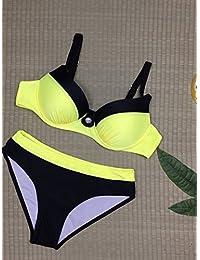 CWAIXXTT Maillots De Bain Pour Femmes Avec Le Tampon De La Poitrine D'Acier Et Taille Haute Bikini Maillot De Bain, Noeud Papillon, Le Split 9,L