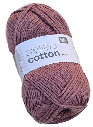 Rico creative cotton aran Farbe 12-mauve Baumwollgarn zum Stricken & Häkeln