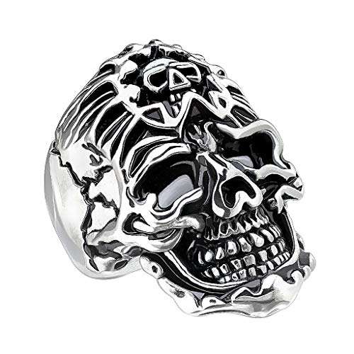 Mianova Herren Ring Edelstahl Massiv Breit Herrenring Männer Biker Rocker Totenkopf Ring Totenschädel mit Bandana Silber Größe 71 (22.6)