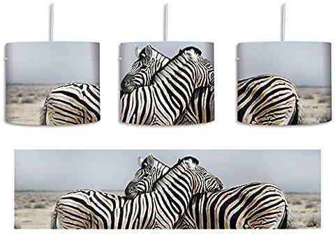 Schmusende Zebras inkl. Lampenfassung E27, Lampe mit Motivdruck, tolle Deckenlampe, Hängelampe, Pendelleuchte - Durchmesser 30cm - Dekoration mit Licht ideal für Wohnzimmer, Kinderzimmer, Schlafzimmer