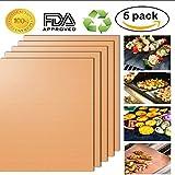 Grill Matte BBQ Kochmatte Non-Stick Satz von 5 FDA-genehmigt leicht zu reinigen Backmatte wiederverwendbare Spülmaschine Safe- 16 X 13 Zoll am besten für Gas, Holzkohle, elektrische Grill Grill (Kupfer)